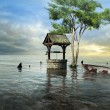 Fantasy well flooded by the sea — Stock Photo