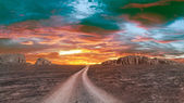 Twilight over rocky desert — Fotografia Stock
