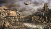 Airships over old mine — Stock Photo