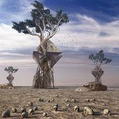 Scenario surreale con piramidi — Foto Stock