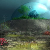House at the bottom of the polluted sea — Stock Photo