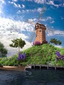 Einsam Windmühle auf dem Hügel — Stockfoto