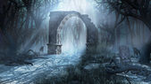 Ruined arch in the misty forest — Stock Photo
