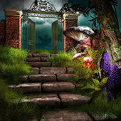 Gate to forgotten garden — Stock Photo