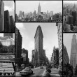 svarta och vita new york city collage — Stockfoto