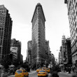 flat iron building, new york city usa.black och vitt Foto — Stockfoto