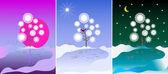 Baum, am morgen, tag und nacht — Stockfoto