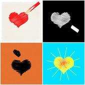Quatro corações desenhadas — Foto Stock