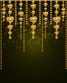 Altın boncuk ve kalpler — Stok fotoğraf