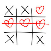 Noughts and crosses game — Stock Vector
