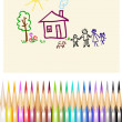 Children's figure color pencils — Vector de stock
