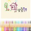 Children's figure color pencils — Stockvector
