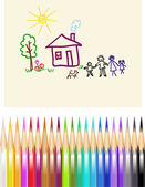 Children's figure color pencils — Stock Vector