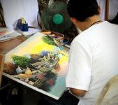Master behind work — Stock Photo