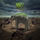 Abstract gloomy landscape with the elephant and a tree — Stock Photo
