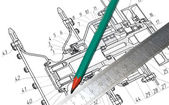 Pencil, ruler and part of the drawing — Stockfoto