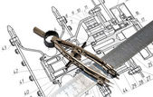 Tools and the drawing — Stock Photo