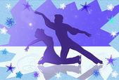 フィギュア スケート選手のシルエット — ストック写真