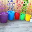 Buckets filled in the spring — Stock Photo