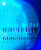 Silhouette féminine sur un fond de l'informatique des données — Photo