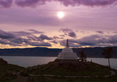 Stupa Enlightenments in a moonlight on lake Baikal — Stock Photo