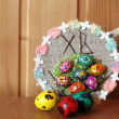Decorative easter ornament also three painted eggs quail — Stock Photo #45030207