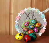 Decorative easter ornament also three painted eggs quail — Stock Photo