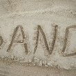 "Inscription ""Sand"" on sand — Stock Photo #17430369"