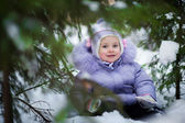 Girl sitting in snow — Stock Photo