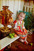 Girl in national russian custom — Stock Photo