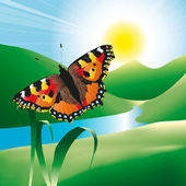 Butterfly in the landscape — Vector de stock