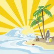 Sun, sea and palm tree — Stock Vector
