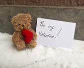 Brown teddy beer met een hart en een kaart — Stockfoto