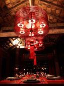 Red pendant lamp — Foto Stock