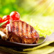 Grilled Beef Steak BBQ. Barbecue Meat Steak outdoor with Vegetables — Stock Photo