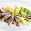 Marinated herring fillets with vegetables — Stock Photo
