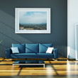 Home design - blue sofa in loft — Stock Photo