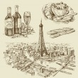 Paris illustration with hand drawn — Stock Vector