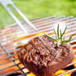 Grilled beef steak on the grilling pan outdoors — Stock Photo