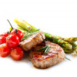 Barbecue Grilled Beef Steak Meat with Vegetables.  — Stock Photo