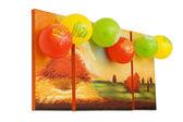 Happy birthday balloons on picture — Stock Photo