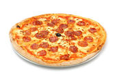 Big fat italian salami pizza — Stock Photo