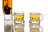 Brandy with herb and two glasses — Stock Photo