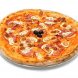 Big italian pizza with ham and mushrooms — Stock Photo #25820271