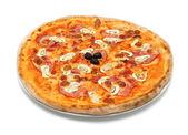 Большая итальянская пицца с ветчиной и грибами — Стоковое фото