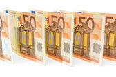 Many 50 euro banknotes in line — Stock Photo