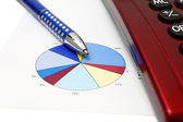 Make business concept with pen, calculator,graph — Stock Photo