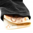 Deposit security concept with money in sock — Stock Photo