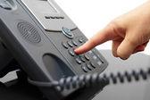 Kadın el bir telefon numarasını çevirme — Stok fotoğraf