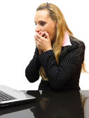 Surprised business woman in her office — Stock Photo